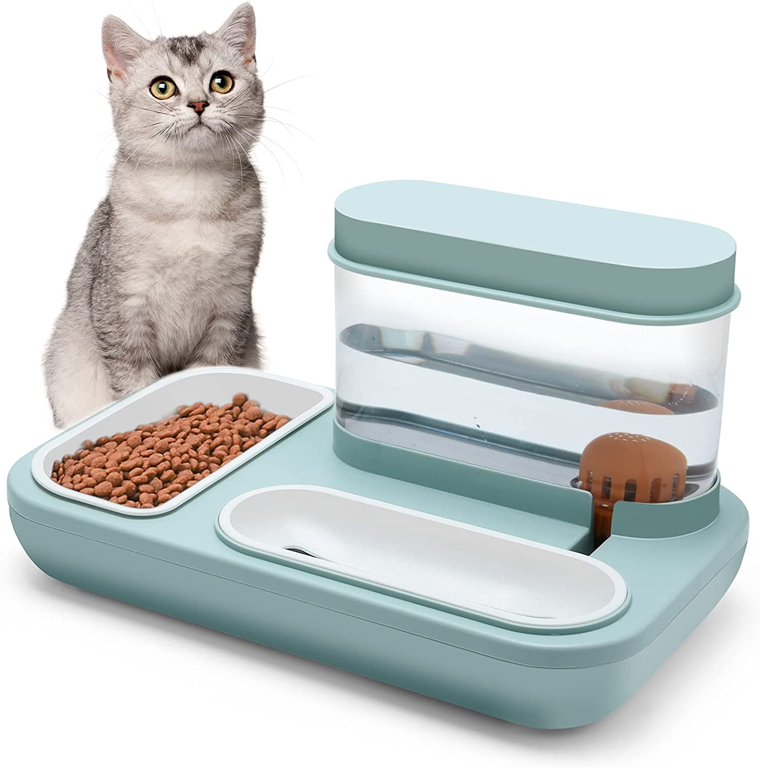 BOWINR Cats Water Gravity Dispenser 1500ml Cat Bowls for Food and Water Double Bowls Detachable Anti Spill Non Slip Base Stable Premium for Dog Puppy Pet Separation Design Automatic Waterer Bowl(Blue)