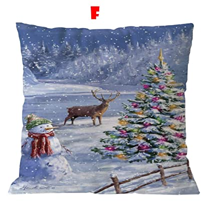 Amazon.com: Duseedik Cotton Linen Christmas Pillow Case Sofa ...