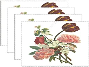 Placemats for Dining Table Heat-Resistant & Washable Flowers Placemats Set of 6