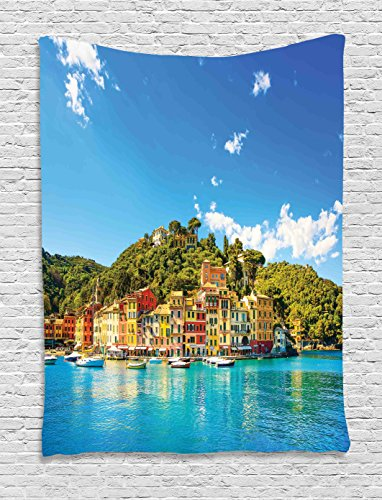 Portofino Tapestry Wall (Ambesonne Village Decor Tapestry by, Mediterranean European Town by the Sea Portofino Italian Harbor Panorama, Wall Hanging for Bedroom Living Room Dorm, 60WX80L Inches, Blue Green)