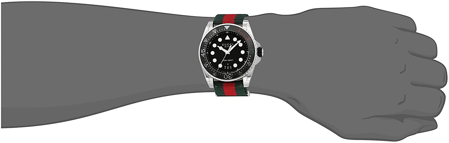 Amazon.com: Gucci Swiss Quartz Stainless Steel and Nylon Dress Multi-Color Mens Watch(Model: YA136209): Watches