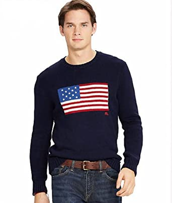 Polo Ralph Lauren Men\u0027s Flag Cotton CrewNeck Pullover Sweater (Small, Navy  Flag)