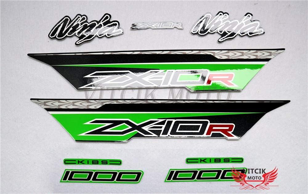 VITCIK Adesivi-decalcomanie da moto per ZX-10R ZX10R Ninja 2011 2012 2013 2014 2015 decalcomanie per abbellimento moto da corsa carenatura Verde /& Argento