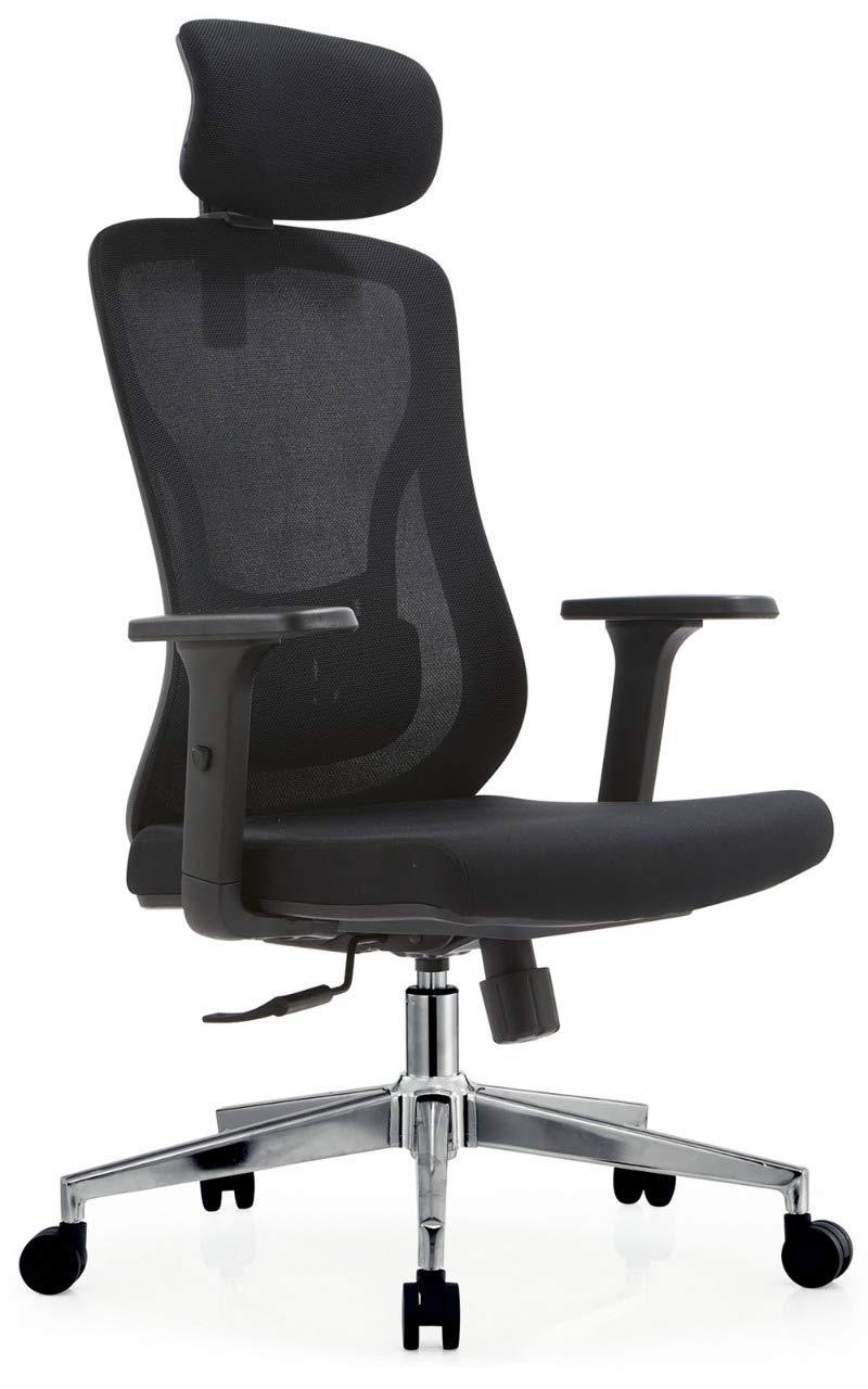 MARTUNIS Ergonomiczne krzesło biurowe z podpórką lędźwiową, krzesło biurowe z podłokietnikami, ergonomiczne podparcie lędźwiowe, krzesła komputerowe do domu, podparcie szyi na krzesło z podłokietnikiem 3D (czarne)