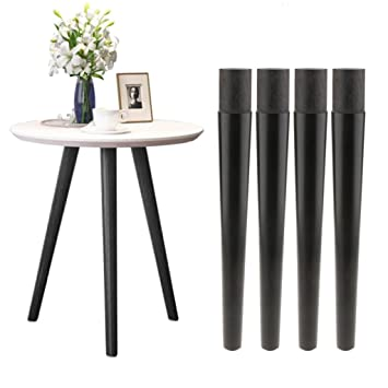 Set of 4 Solid Wood Taper Furniture Feet Couch Sofa Leg Bed Table Stand Black Color - Black, 42cm