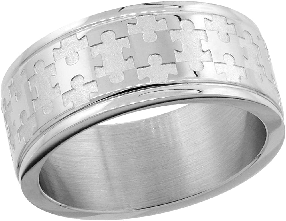 Surgical Stainless Steel 8mm Autism Awareness Jigsaw Puzzle Wedding Band Ring, Sizes 8-14