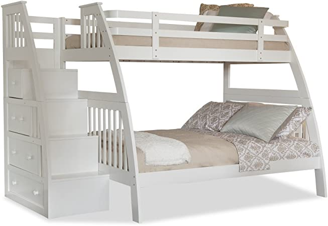 Canwood Ridgeline litera Cama con Integrado escaleras cajones, Pino, Blanco, Twin Over Full: Amazon.es: Hogar