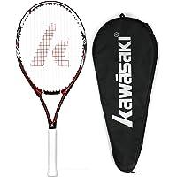 Kawasaki 川崎 中性 碳铝 单网拍 入门级网球拍(已穿线) K-18-r 红色(亚马逊自营商品, 由供应商配送)