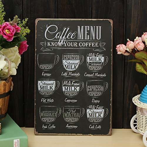 Wall Art - Coffee Menu Sheet Metal Drawing Metal Painting Tin Cafe Wall Tavern P Sign - Coffee Menu Wall Decor Vintage Accessories Signs Home Kitchen P - 1PCs (Mirrored Wall Letters)