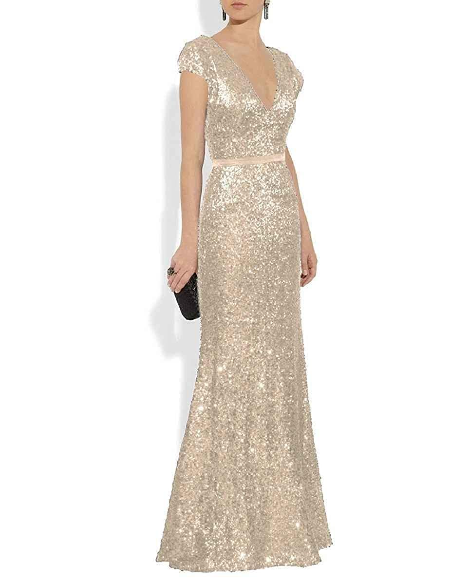 Champagne JQLD Women's Sexy Deep V Neck Mermaid Sequin Evening Dresses 2019 Long Mother of The Bride Gowns
