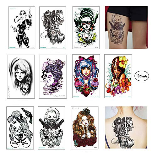 (Temporary Tattoo for Women Black Skull Tattoo Stickers 10 Large Sheets Pistols Pirate Flower Arm Stickers Waterproof Suitable for Girls)