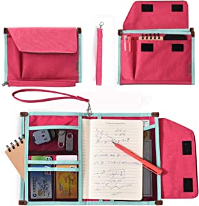 Universal Travel Gear Organizer & Document File Bag for Women - Electronics Accessories Bag, Padfolio Case by HQSlife (Red)