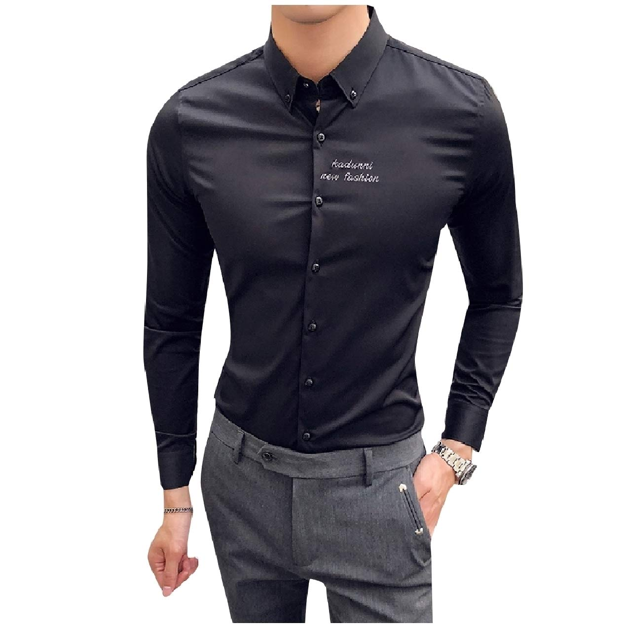 Zimaes-Men Embroidered Wrinkle-Resistant Pure Colour Satin Shirt Tops