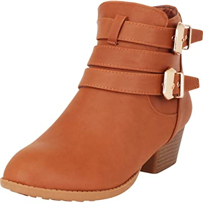 Cambridge Select Women's Moto Strappy Buckle Chunky Heel Ankle Bootie: Shoes