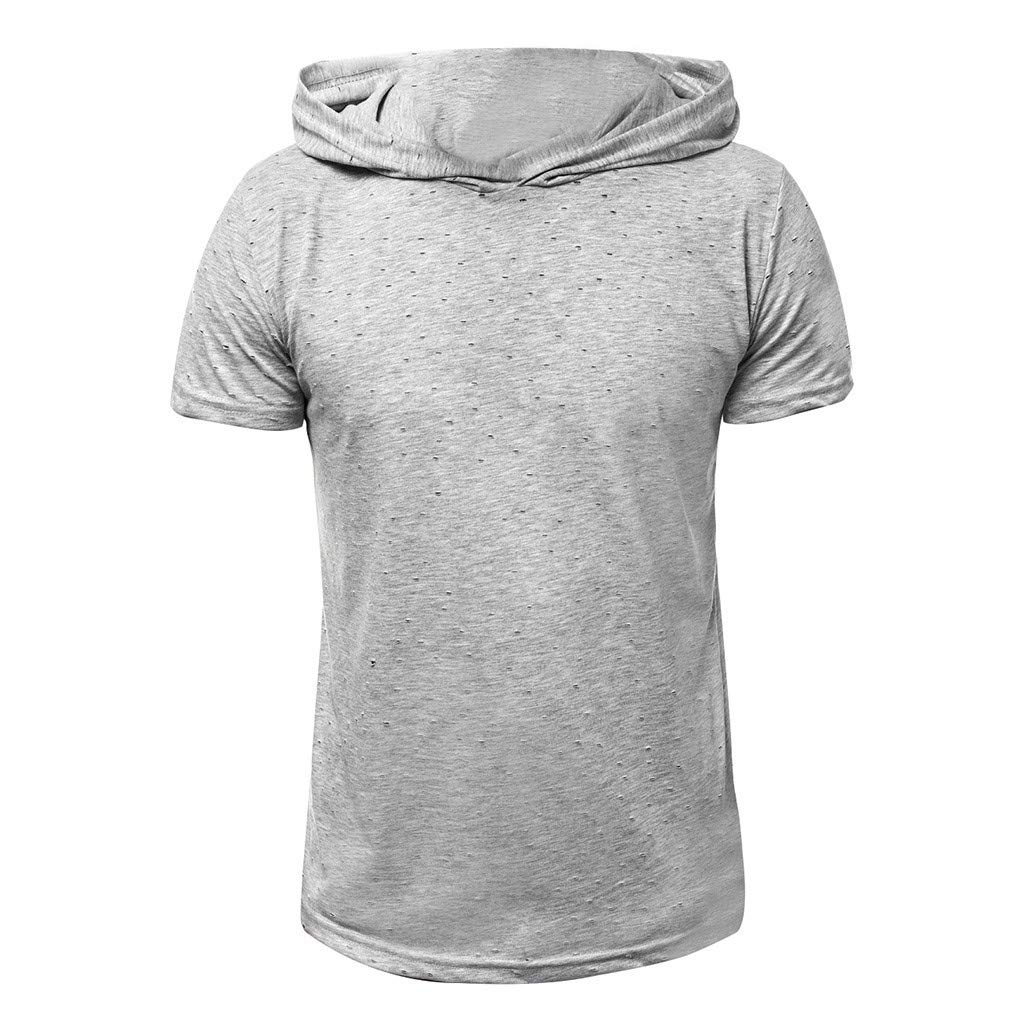 Hoodies for Men F/_Gotal Mens T-Shirts Fashion Summer Short Sleeve Hole Stripe Loose Fit Casual Hooded Tee Blouse Tops