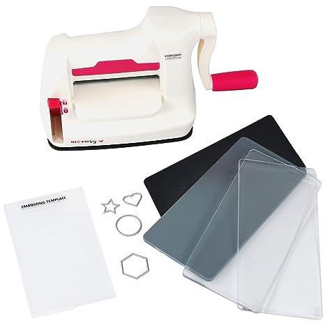 Vaessen Creative Mini Máquina De Corte Y Repujado Kit De Inicio, Blanco/Rosa,