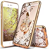 "iPhone 6 Plus Case,iPhone 6S Plus Case,ikasus [Glitter Crystal Plating Butterfly Floral] Luxury Bling Diamond Rhinestone Clear TPU Case for iPhone 6/6S Plus 5.5"", Gold White Flower,Crown Ring Stand"