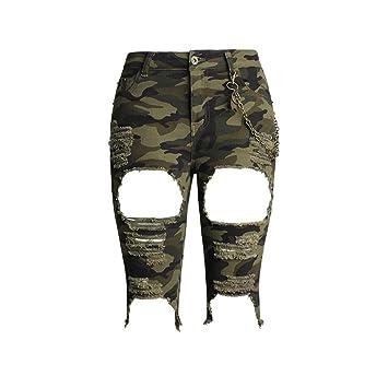 Damen Shorts Hohe Taille Stretch Denim Jeans Clubwear Kleidung Lose Heiße  Hosen Floral Camouflage Medium Löcher c33b5570b1