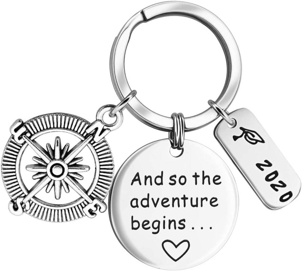 LYTOPTOP Porte-cl/és inspirant pour Femme et Ainsi de Suite The Adventure Begins 2020 pour dipl/ômes des /étudiants du lyc/ée