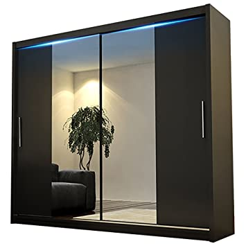"new arrival 4383e d9f89 Ye Perfect Choice Modern Bedroom Mirror Sliding Doors Wardrobe ""AVA 4"",  180cm/5.9ft (Black, With LED)"