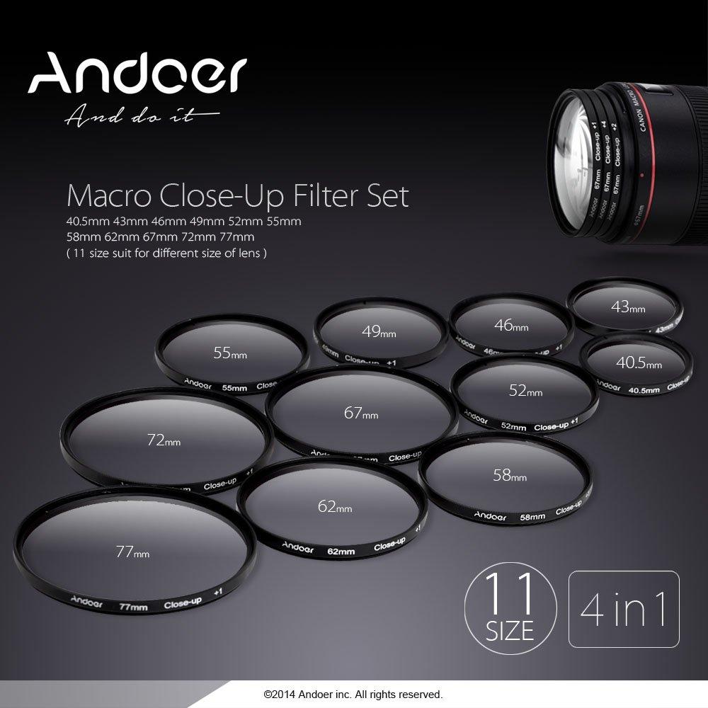 Andoer/® 77/mm Macro Close-Up Filtro definito un insieme di 1/ 10/con custodia tasca per Nikon Canon Rebel T5i T4i EOS 1100d 650d 600d Reflex Digitali 2/ 4/