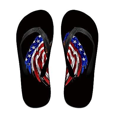 Unisex Non-slip Flip Flops Eagle Flying Usa Flag Cool Beach Slippers Sandal