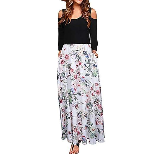 a2db5b53036 Amazon.com  VigorY Women s Cold Shoulder Dress Boho Elegant Maxi Dresses  Holiday Casual Sundresses with Pocket  Clothing