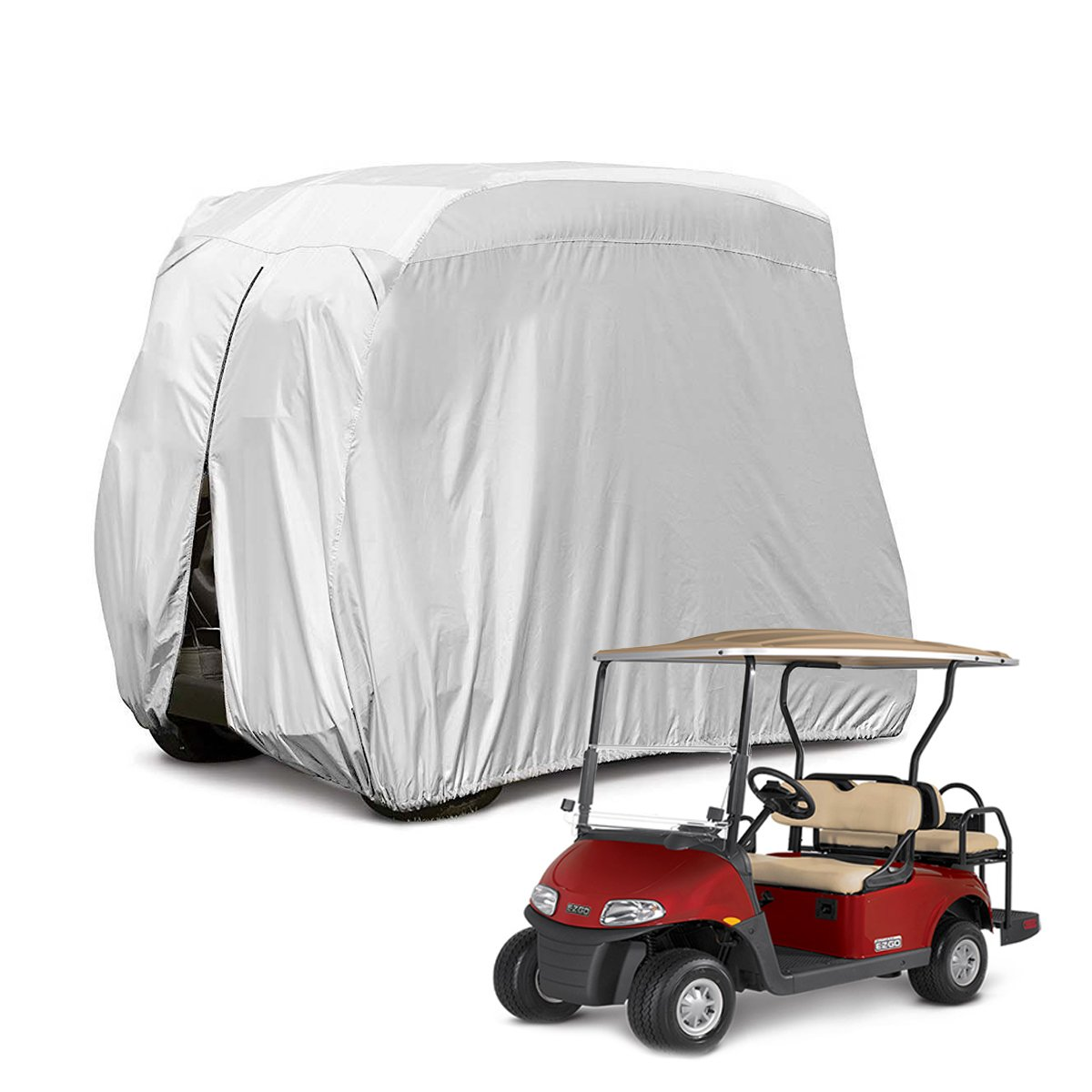 Himal 4 Passenger 400D Waterproof Sunproof Golf cart Cover roof 80'' L, fits EZ GO, Club car and Yamaha, dustproof and Durable, Grey