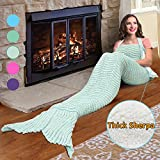 Mermaid Tail Sherpa Blanket,Super Soft Warm Sherpa Lined Knit Mermaids with Non-slip Neck Strap,Best Gift for Girls Women Adult Teens Birthday Holiday By Catalonia Green/Grey