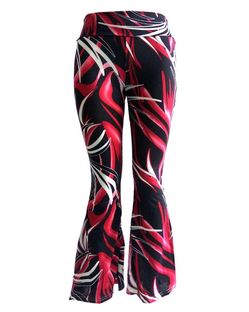 Impresión Pierna Ancha Estilo Étnico Modelada Floral Pantalón De Pierna Ancha Sueltos Pantalones