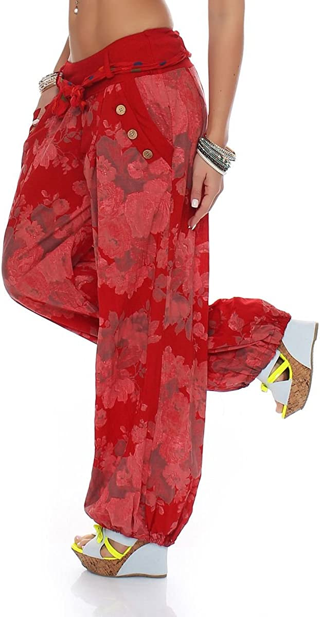 Malito Bombacho dise/ño Floral Boyfriend Aladin Harem Pantal/ón Sudadera Baggy Yoga 3418A Mujer Talla /Única