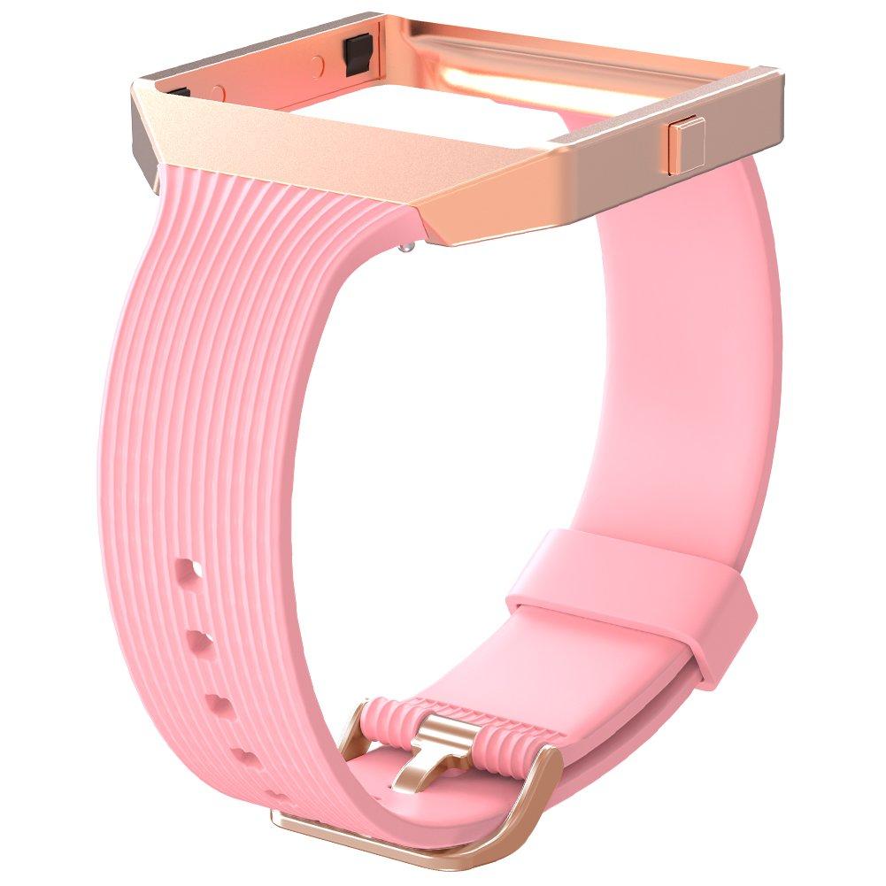 Snowcinda Fur Fitbit Blaze Armband Mit Metallrahmen Premium Silikon Ersatz Uhrenarmband Sport Zubehor Fur Fitbit Unisex Blaze Smarte Fitness Uhr
