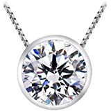 """1 Carat Round Diamond 4 Prong Solitaire Pendant Necklace J Color I1 Clarity, w/ 16"""" Silver Chain"""