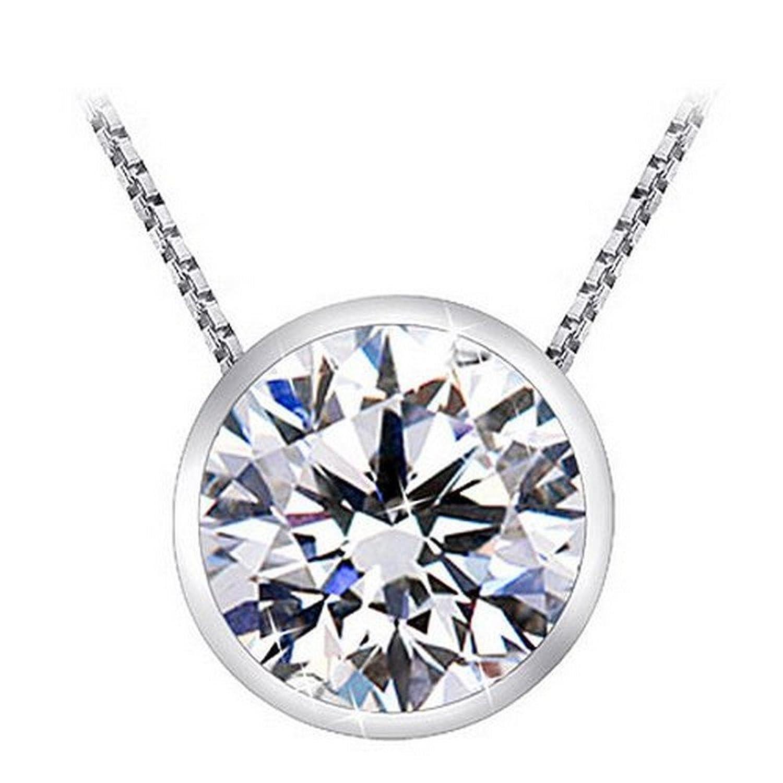 """1 Carat Bezel Set Solitaire Diamond Pendant Necklace Platinum (J, I2, 1 ctw) w/ 16"""" 14K White Gold Chain"""