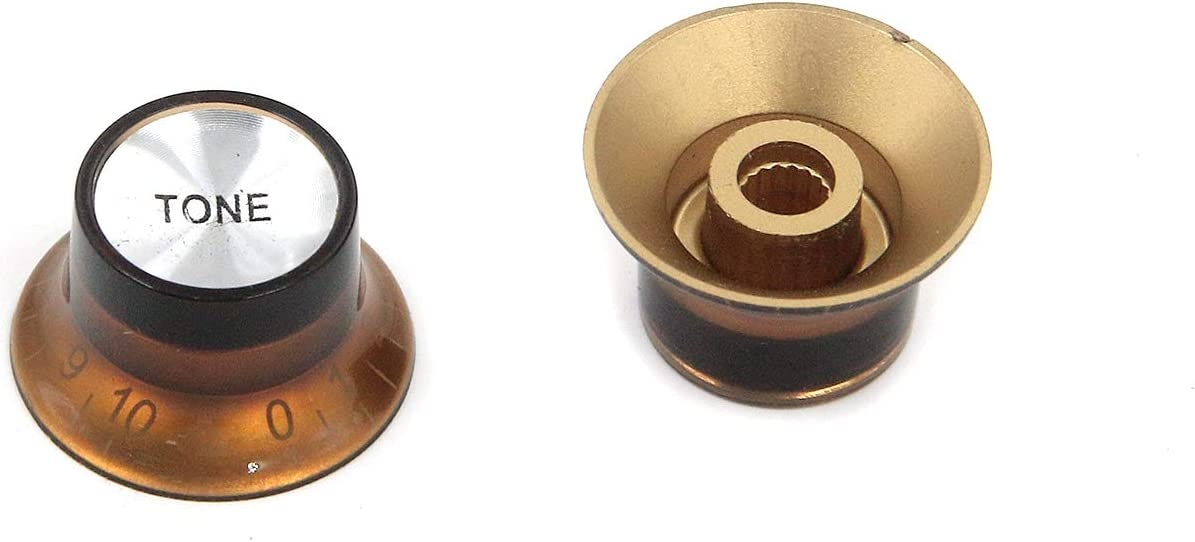 mxuteuk 2pcs Volume 2pcs Tone Electric Guitar Bass Top Hat Knobs Speed Volume Tone AMP Effect Pedal Control Knobs copper color with Silver Top KNOB-S15