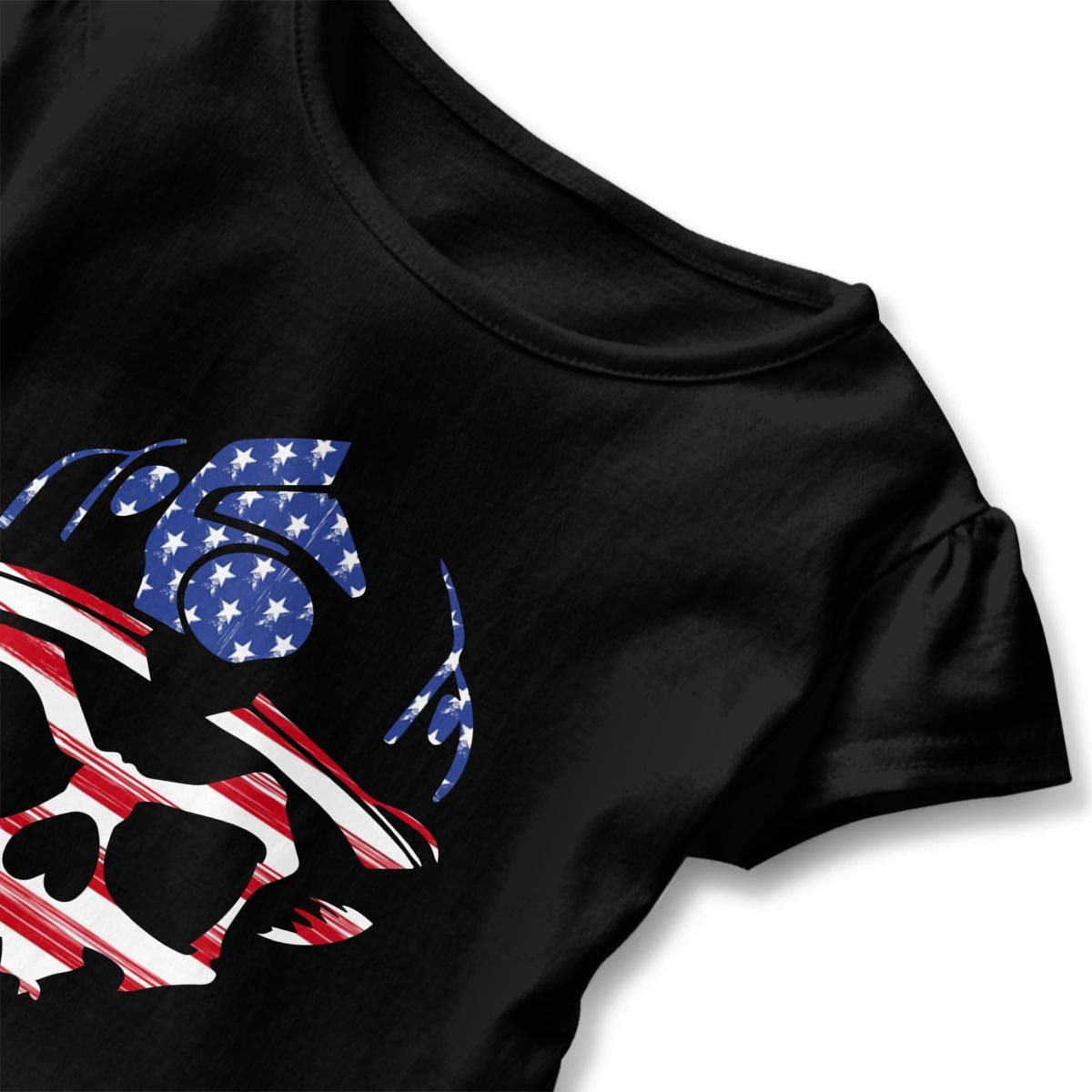 CZnuen Firefighter American Flag Skull Baby Girls Basic Short Puff Sleeve Round Neck Ruffle T-Shirt