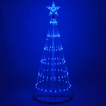 Wintergreen Lighting 14 Function Led Light Show Cone Christmas Tree Outdoor Christmas Decorations 6 Blue