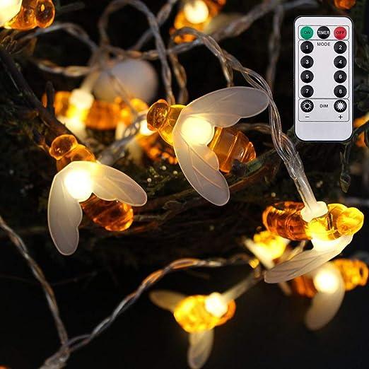 Cadena de luces para interior y exterior 20FT 40 LED Guirnalda de Luces Exteriores Impermeables en forma de Abeja para Jardín Patio Árboles Césped: Amazon.es: Iluminación