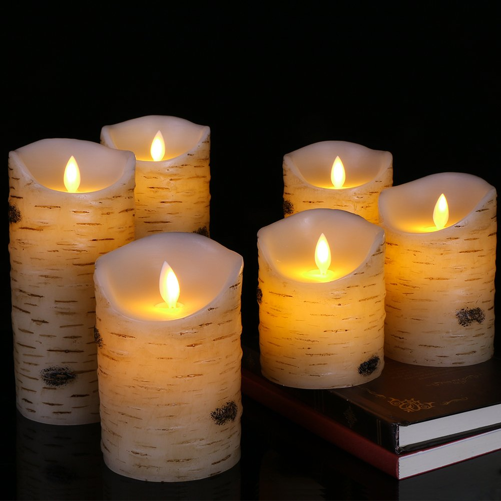 Flameless LED Candles Flickering Light Pillar Real Birch bark Wax with Timer and 10-key Remote for Wedding,Votive,Yoga and Decoration Set of 6