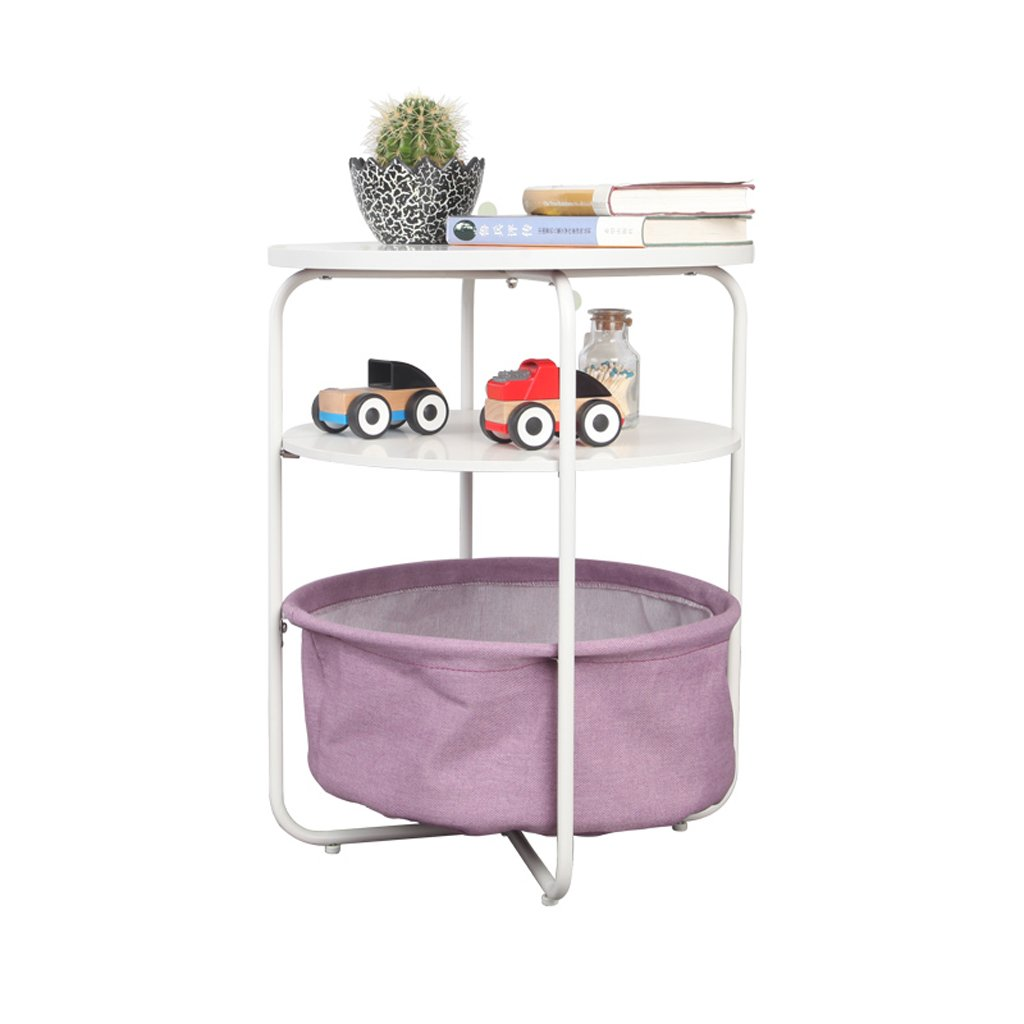 PURPLE Laptop Table Small Round Table by The Side of The Sofa, Side Table, Bedside Table, Mobile Coffee Table Support (color   Navy bluee)