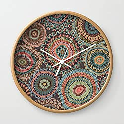 Society6 Boho Patchwork-Vintage Colors Wall Clock Natural Frame, White Hands