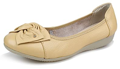 Kunsto Women's Leather Loafers Flats Slip On US Size 6 Beige