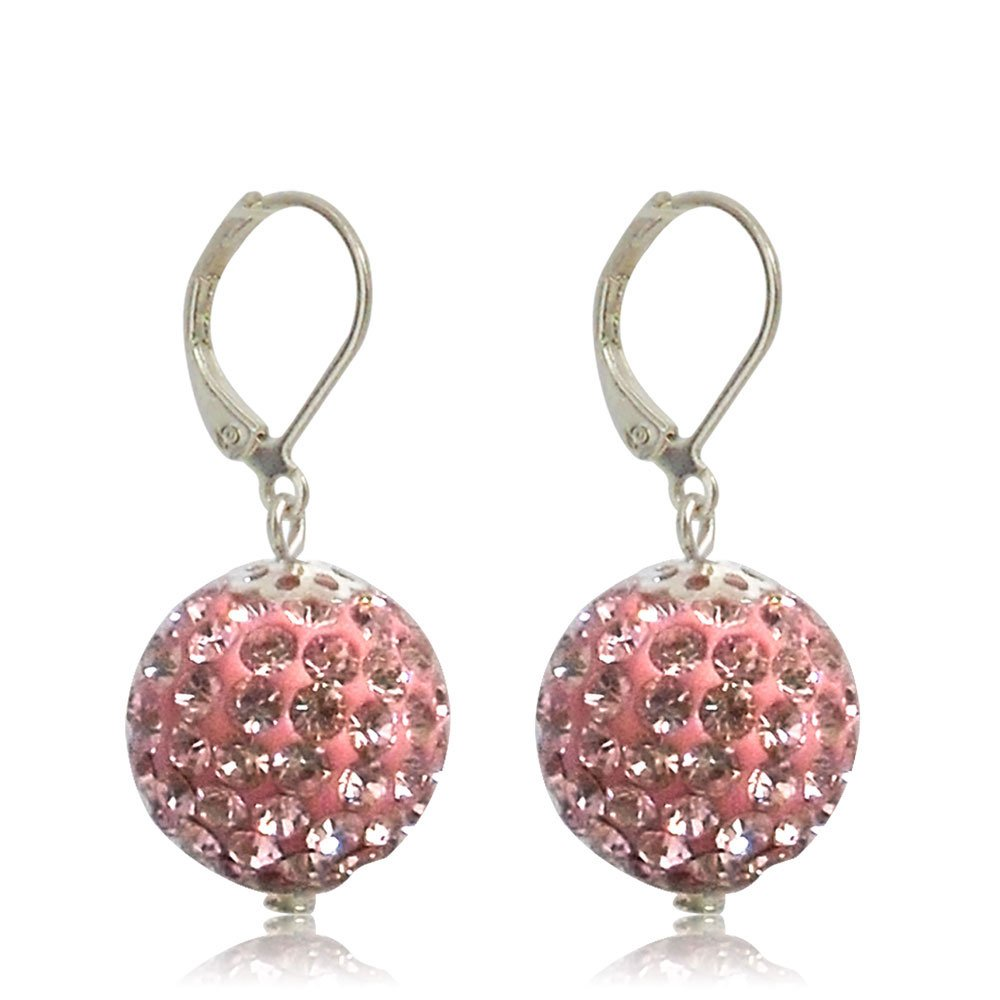 GiftJewelryShop 15MM Sterling Silver Plated Pink Disco Crystal Ball Dangle Leverback Earrings