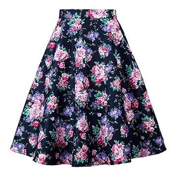 HEHEAB Falda,Verano Rosa Una Línea Vintage Falda Floral 50S Pin Up ...