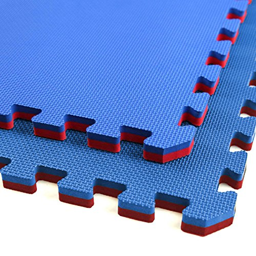 IncStores - Jumbo Soft Interlocking Foam Tiles (4 Tiles, Red/Blue) Perfect for Martial Arts, MMA, Lightweight Home Gyms, p90x, Gymnastics, Cardio, and Exercise