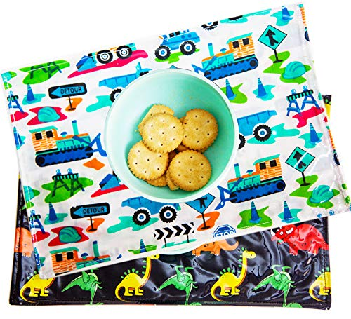 Set of 2 Foldable Place Mats for Boys and Girls for Lunch Box or Restaurant (Boys)