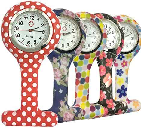 Silicone Quartz Nurse Watch Lapel Pin-on Brooch Fob Watch,Pack of 5