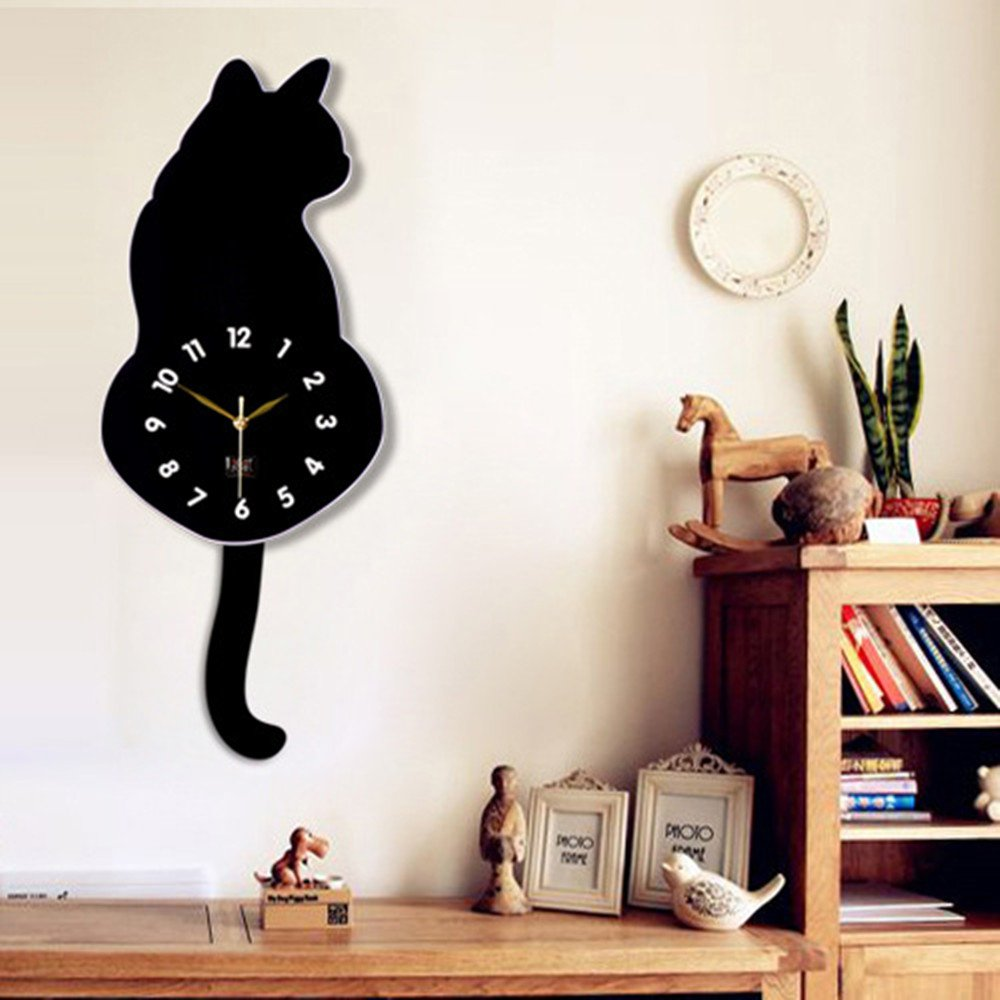 Amazon hicbox creative wagging tails cat wall clock children amazon hicbox creative wagging tails cat wall clock children room decorations 15w x 29h 39cm x 73cm black home kitchen amipublicfo Gallery