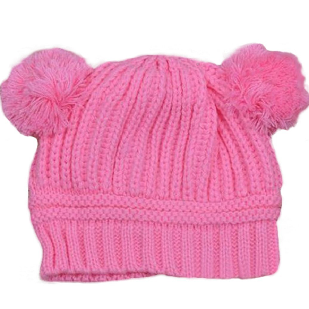 Polytree Kids Baby Girls Boys Dual Ball Knitted Beanies Warm Hat