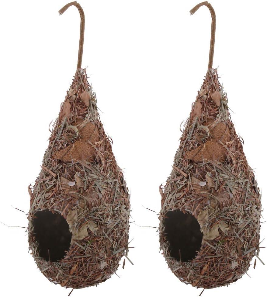 Natural Bird Hut for Outdoor homozy Set of 2 Hummingbird Birdhouse for Outside Hanging Grass Hand Woven Bird Nest